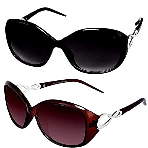 Y&S Cat Eye Oval Oversized Black and Brown Medium Butterfly Shape Women's Sunglass – Combo