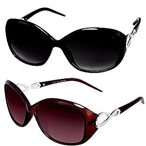 Y&S Branded UV Protected Black Brown Set of 2 Sunglasses Cat Eye Oval Oversized Combo For Women Girls Ladies Top Seller…