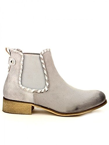 Cendriyon, Bottine Grise Peau Cuir GLORY Chaussures Femme Gris