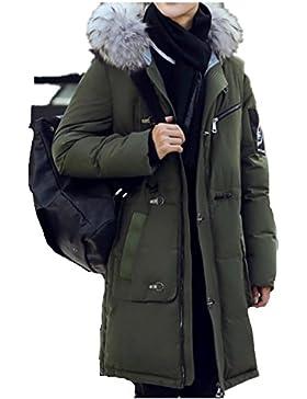 Casual color sólido de los hombres calientes del invierno abajo cubre la chaqueta , black , 2xl