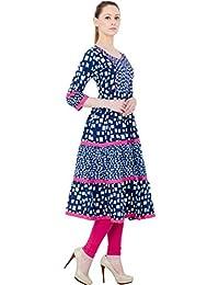 AnjuShree Choice Women's Blue Printed Cotton Anarkali Kurti