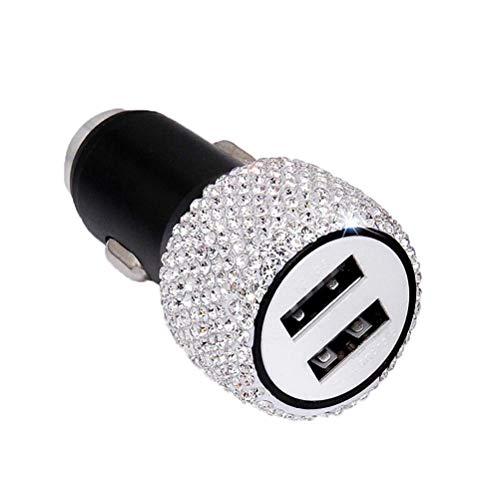 Dual USB-Autoladegerät 3D Bling Diamant Strass Handgefertigt für Apple und Android-Geräte, Autoladegerät Bling, Bling Zubehör für Frauen (White) Dual-power-accessoire