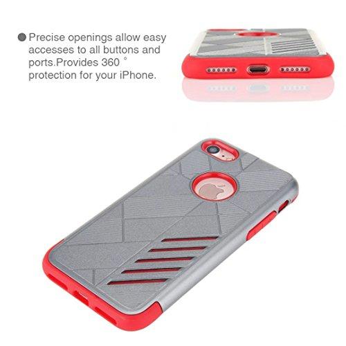 """iPhone 7 Coque, Lantier 2 en 1 Rugged Armure conception antichoc Anti Drop TPU souple durable et dur PC double couche de couverture cas hybride de protection pour Apple iPhone 7 4.7"""" Or rose Grey+Red"""