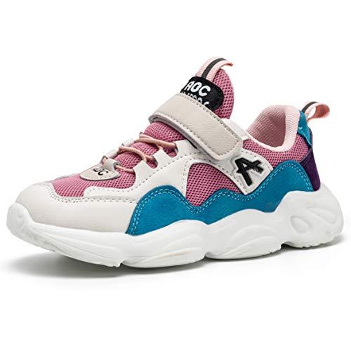 ZXSFC Kinderschuhe Mädchen Sportschuhe Mädchen Sneaker Mädchen Turnschuhe Kinderschuhe Mädchen Laufschuhe Mädchen Hallenschuhe Mädchen Fitnessschuhe Outdoor Schuhe Rosa 32
