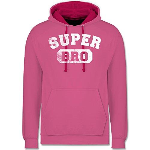 Bruder & Onkel - Super Bro - Vintage-&Collegestil - Kontrast Hoodie Rosa/ Fuchsia