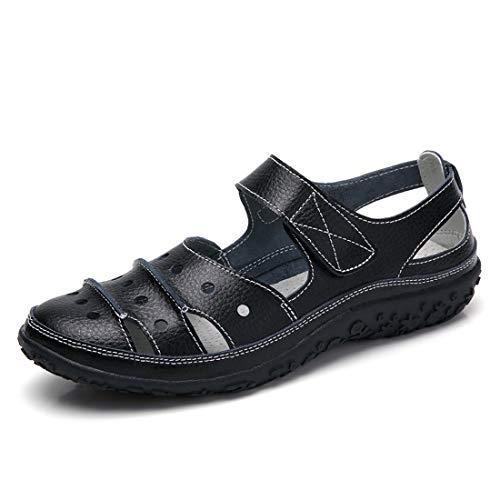 Z.SUO Sandalias Mujer de Cuero Planas Cómodos Casual Mocasines Loafers Moda Zapatos Plano Verano Sandalias y Chanclas(42 EU,Negro.1)