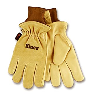 KINCO 94HK-M Men's Lined Grain Suede Pigskin Gloves, Heat Keep Lining, Medium, Golden by KINCO INTERNATIONAL