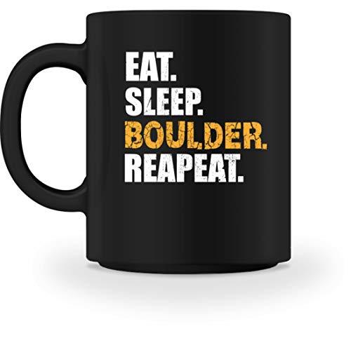 Generisch EAT SLEEP BOULDER REPEAT Kletterwand Kletterhalle Klettern Boulderwand Climbing Bouldern - Tasse -M-Schwarz
