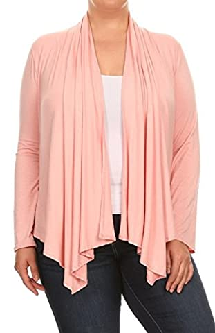 2LUV Plus Women's Long Sleeve Relaxed Fit Open Front Cardigan Draped Neck Peach 3XL (V7024 SD PK-X)