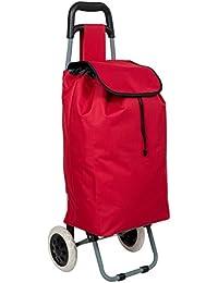 TecTake Carro carrito de la compra plegable con ruedas cesta rojo