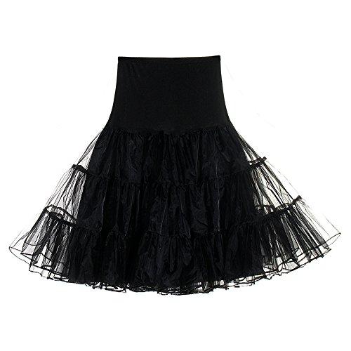 FeelinGirl 50er Jahre Petticoat Vintage Retro Reifrock Petticoat Unterrock für Wedding Bridal Petticoat Rockabilly Kleid in Mehreren Farben Schwarz