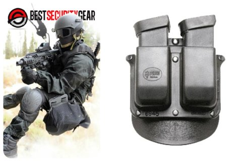 FOBUS Holster Doppel-Magazintasche für double-stack .45 & 10mm Magazin / Glock 20, 21, 29, 30 (.45 ACP / 10mm) / Para-Ordnance (double-stack ) / Heckler & Koch Mark 23, tactical , USP H&K .45 cal ACP / Smith & Wesson 99 - .45 cal / 6945 FOBUS + Best Security Gear Magnet -