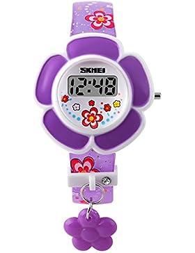 Skmei Kinderuhr Digital LED M?dchen Lustig Lila Silikon Quarz Blumen Armbanduhr
