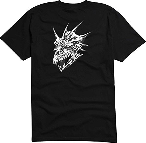 T-Shirt D564 T-Shirt Herren schwarz mit farbigem Brustaufdruck - Design Tribal Comic / abstrakte Grafik / wütender Drachenkopf mit Hörnern Weiß