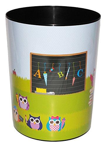 Papierkorb - Eule & Schule - Kunststoff - Mülleimer Eimer Aufbewahrungsbox - für Kinder / Mädchen & Jungen - Eule - Schultüte Schulanfang / Abfallbehälter / Abfalleimer Kinderzimmer