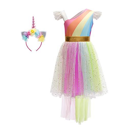 Costume da Unicorno Arcobaleno Vestito Elegante da Fiore Ragazza Tutu Hi-lo Principessa  Festa Cerimonia 239c1d4d592