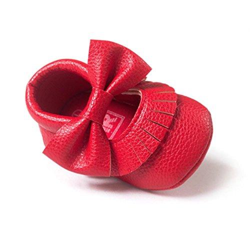 Hunpta Babyschuhe Mädchen Lauflernschuhe Baby Mädchen Bowknot Quasten Schuhe Kleinkind weiche Sohle Turnschuhe Freizeitschuhe (12, Weiß) Rot