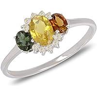 Gift Woman Christmas-Unique Piece Size Q-Precious stones-Ring-Tourmaline-Diamonds-Silver-Woman
