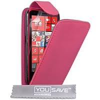 Nokia Lumia 620Fall Hot Pink PU Leder Flip Cover