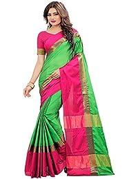 Nilsha Women's Pink & Green Art Silk Saree In Free Size