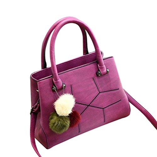 Baymate Vintage Handtasche für Damen PU Leder Tote Schulter Taschen Dunkel Violett