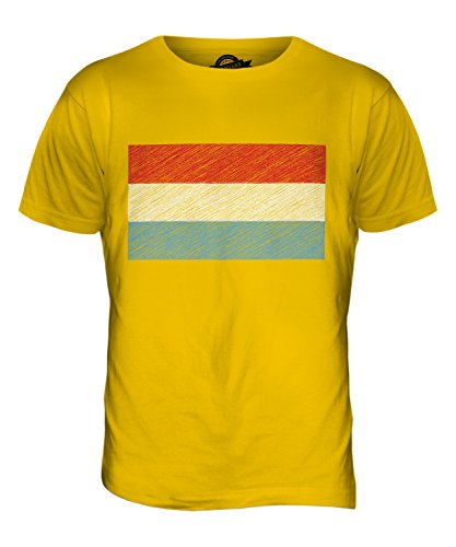 CandyMix Luxemburg Kritzelte Flagge Herren T Shirt Dunkelgelb