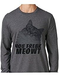 You Freak Meowt Novetly Grey Long Sleeve Sublimation Cat T-Shirt Faded for subtleness