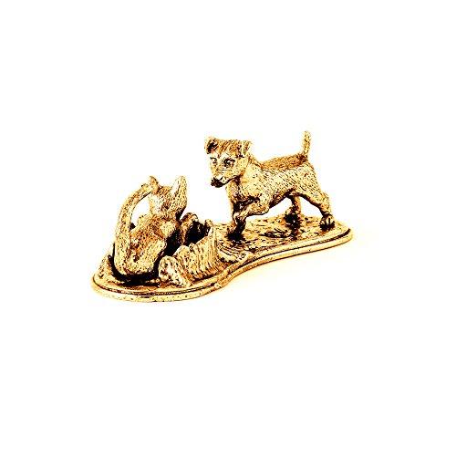 Jack- Russell- Terrier und Katze Hergestellt in U.K. Kunstvolle Hunde- Figur Sammlung (22 Karat Vergoldung / gold plattiert) (Jack-russell-terrier Miniatur)