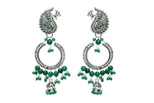 Rajasthan Gems - Pendientes de plata de ley 925 hechos a mano con piedras de ónix verde y figura de pavo real