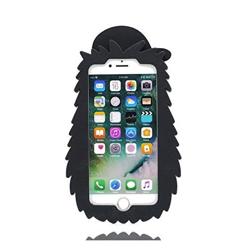 iPhone 7 Copertura,iPhone 7 Custodia,Smile Face baba del fumetto 3D bella copertura molle della cassa del silicone di TPU della pelle protettiva della pelle Case Cover per iPhone 7 4.7 inch nero