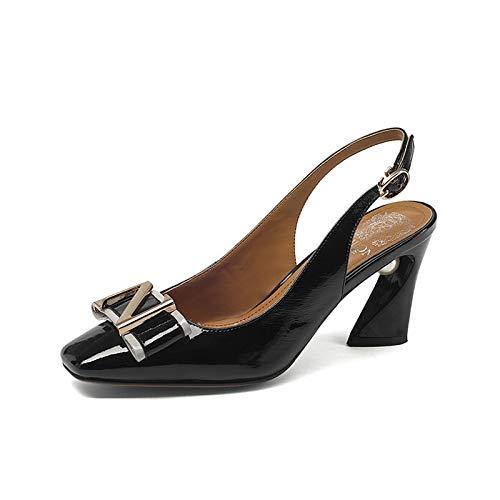 TXHLKD Summer Bow Slingbacks Pumps Damen Big Size 34-43 Sweet Shallow Schuhe Damen Low Heel Date Damen Schuhe 6.5 Schwarz Bow Slingback