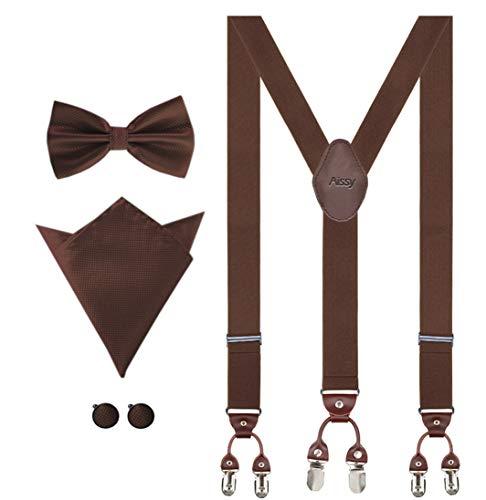 Aissy Hosenträger für Herren 3.5cm Y-Form Elastisch und Längenverstellbar Hosenträger Breit mit 6 starken Clips und Fliege & Einsteckuch GBraun