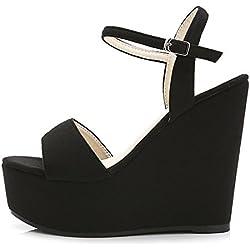 Pattini casuali delle scarpe da donna delle donne dei sandali delle signore delle donne di estate, nero , 34 , black 12 cm