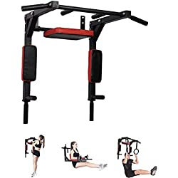 Pull Up Fitness - Barre de Traction Fixation Murale, Noir/Rouge