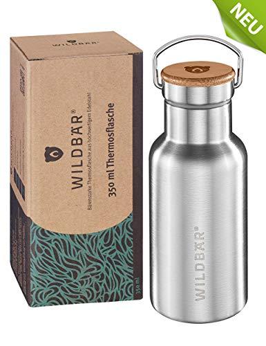 WILDBÄR® - NEU - Dichte Premium Edelstahl Thermos-Flasche ideal für Schule, Sport, Uni oder Outdoor, BPA-frei, doppelwandig, perfekte Isolation mit Bambus-Deckel, nachhaltig, ökologisch - 350ml