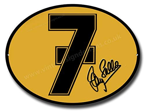 Barry Sheene No 7 Qualität Maschine Schneide- Oval Metall Schild -