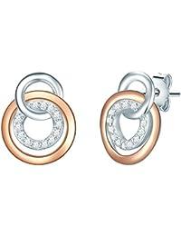 Rafaela Donata Damen-Ohrstecker Sterling Silber rosegold Zirkonia weiß - Ohrringe Damen Ohrstecker rund Ohrschmuck Damen