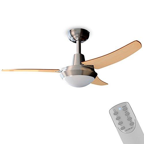 Cecotec Ventilador de Techo con luz y Mando a Distancia, 106 cm de Diámetro, 65 W, 3 aspas Reversibles, 3 velocidades. ForceSilence Aero 480