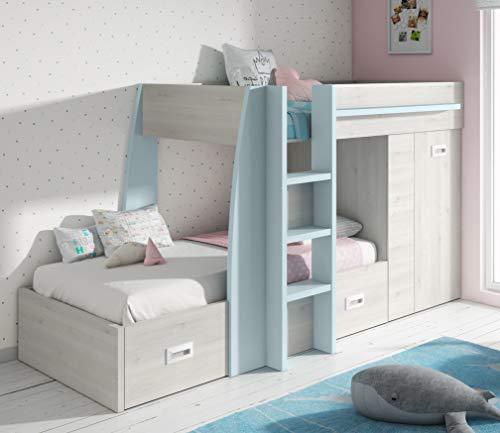 Miroytengo Cama Infantil Forma Tren litera Juvenil diseño Original Color Azul y...