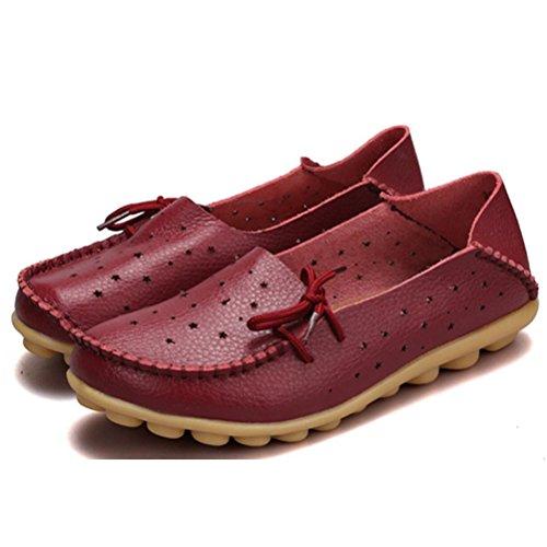 Vogstyle Mocassin Femme Casuel Chaussures Loisir Plat de Marche Ballerine 33-44 Vin rouge