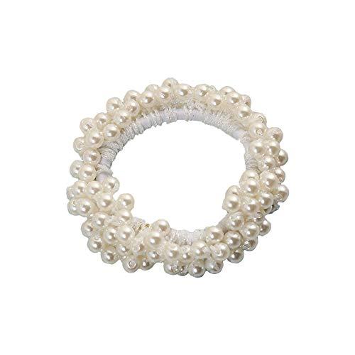 Lameida elastico ponytail holders hair ties elastico per capelli corda band con piccole perle decorazione size perimetro 10cm (bianca)