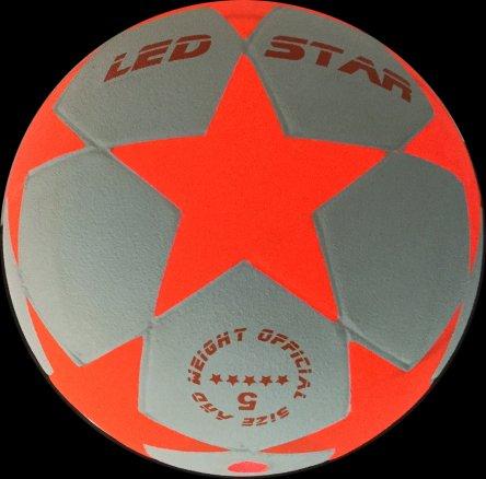 Balón de Fútbol que se Ilumina: El nuevo Champion :LED-STAR BLANCO incl. Bomba de balón y pilas re- servas - LED Interior se enciende cuando se patea – Brilla en la Oscuridad - -Alta calidad