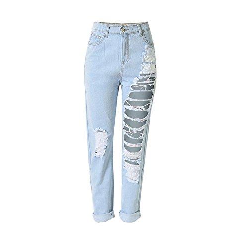 ADESHOP Femmes Denim LâChe DéChiré Taille Haute Jeans Stretch Pantalon Droites Minces Mode Casual Jeans Taille Haute Trou Droit (XL)