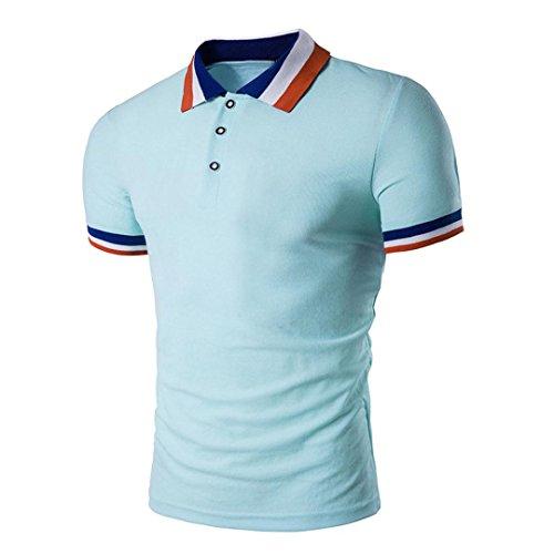 Einreihige Knöpfe (Herren Amlaiworld Jacquardkragen Einfarbig Polo T Shirt Tee Tops (Hellblau, M))