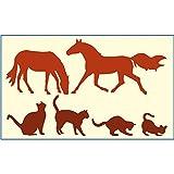 gestanzte Folie für die Schabloniertechnik Pferde / Katzen # Motiv-Schablone # Wandtattoo