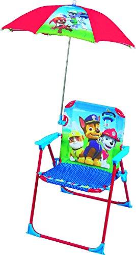FUN HOUSE Pat Patrouille Chaise Pliante avec Parasol pour Enfant, Acier, Bleu, 38x8x50 cm