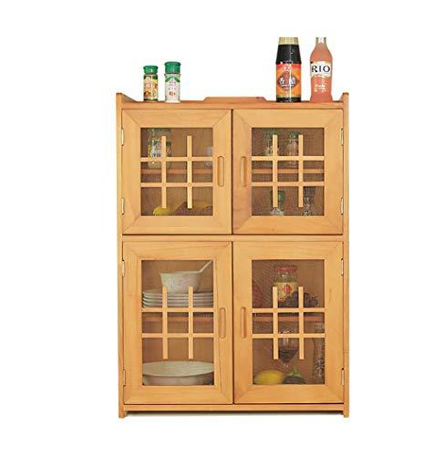 ZWJbine Massivholz Küche Wand hängen Boden 4 Etagen Schließfächer Einfache und wirtschaftliche Schrank Schränke Sideboards Gewürzschränke Größe: 57 * 30 * 80cm