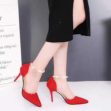 Zhenfu Tacones Mujer Confort En Verano Cuero Sintético Oficina Y Trabajo Casual Tacón De Aguja Hebilla De Perlas Caminar Colorete Rosado