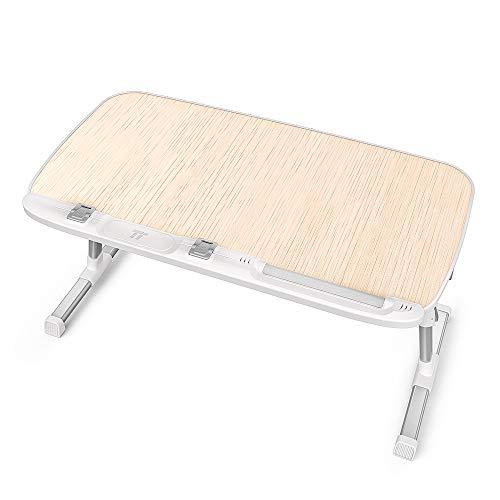 TaoTronics Laptoptisch Tragbarer Klappbarer Winkel Verstellbarer Schreibtisch Höhenverstellbarer mit Polierte Holzoberfläche Rutschfeste Füße für Sofa, Bett, Büro und Picknick usw - Picknick-tisch Zubehör