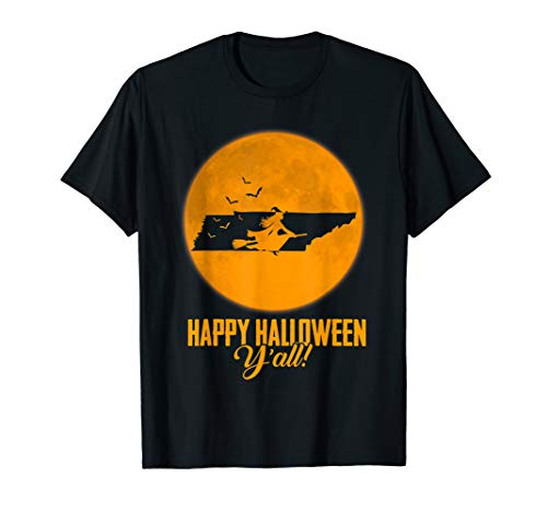 Happy Halloween Y'all Tennessee Witch Map T-shirt